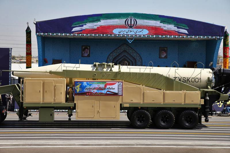 Iran's Khoramshahr missile is displayed by the Revolutionary Guard during a military parade marking the 37th anniversary of Iraq's 1980 invasion of Iran, in front of the shrine of late revolutionary founder Ayatollah Khomeini, just outside Tehran, Iran, Friday, Sept. 22, 2017. Iran's Revolutionary Guard has unveiled its latest ballistic missile with a range of 2,000 kilometers — about 1,250 miles— capable of reaching much of the Middle East, including Israel. (AP Photo/Ebrahim Noroozi)