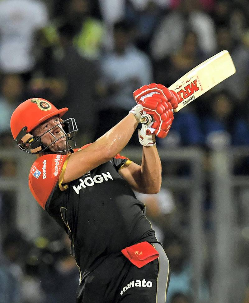 Royal Challengers Bangalore cricketer AB de Villiers plays a shot during the 2019 Indian Premier League (IPL) Twenty20 cricket match between Mumbai Indians and Royal Challengers Bangalore at the Wankhede Stadium in Mumbai on April 15, 2019. (Photo by Indranil MUKHERJEE / AFP) / ----IMAGE RESTRICTED TO EDITORIAL USE - STRICTLY NO COMMERCIAL USE----- / GETTYOUT