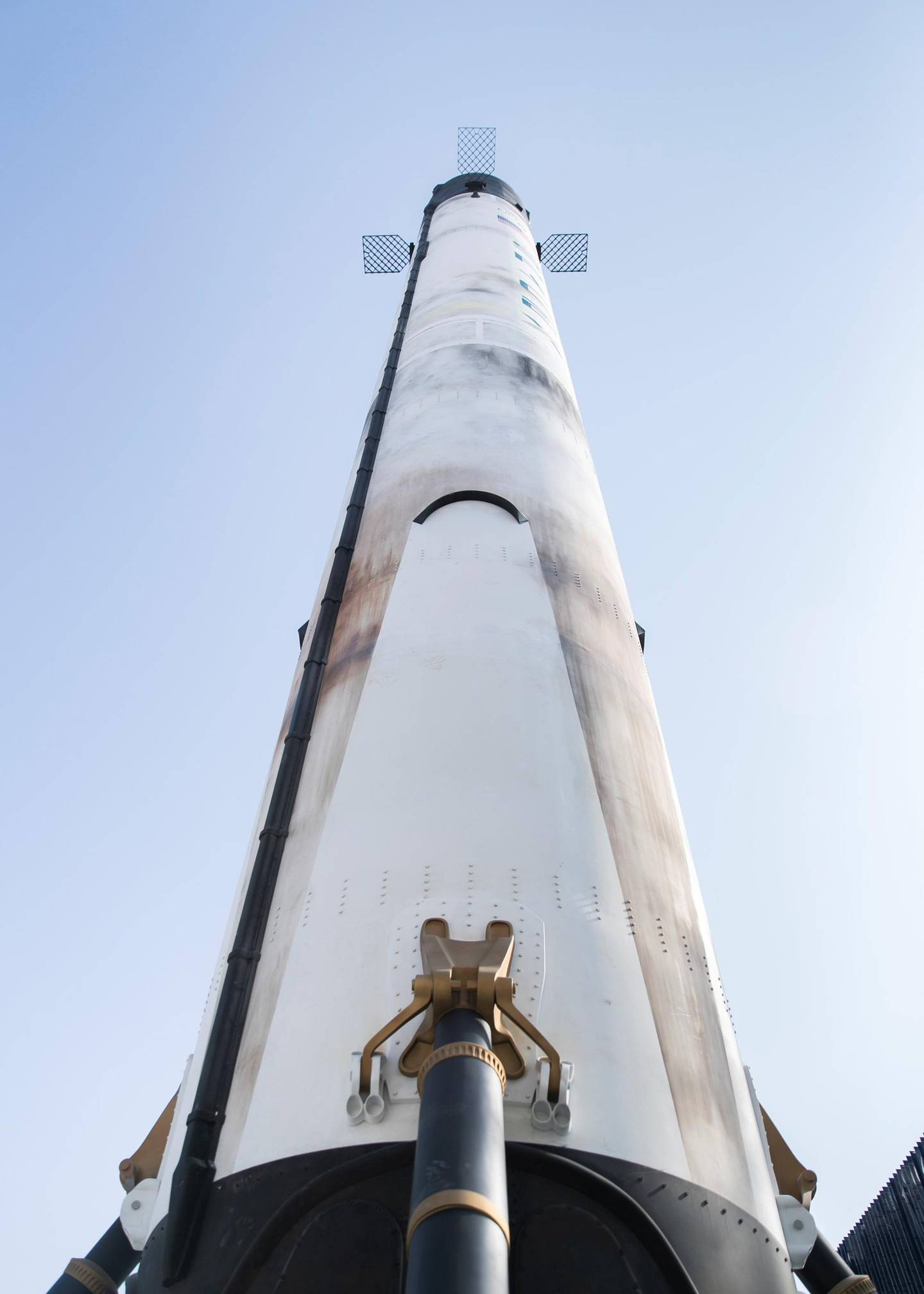 DUBAI, UNITED ARAB EMIRATES. 18 NOVEMBER 2020. A replica of the Space X Falcon 9 rocket outside the USA Pavilion at EXPO 2020 site. (Photo: Reem Mohammed/The National)Reporter:Section: