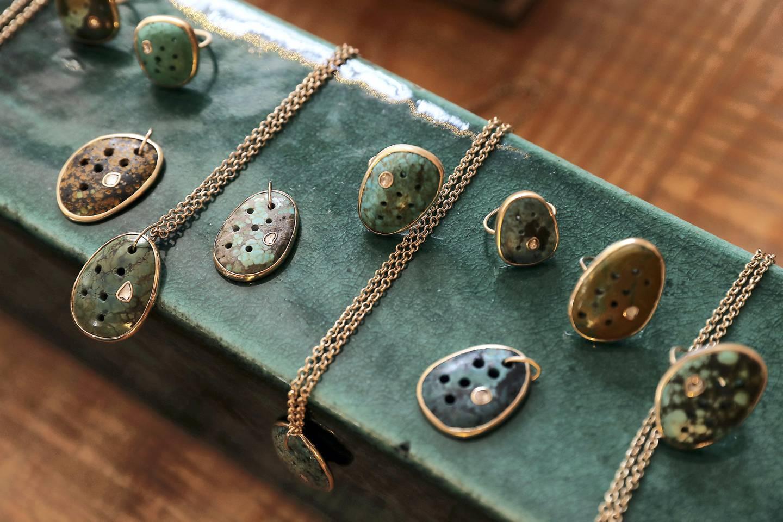 DUBAI , UNITED ARAB EMIRATES , SEP 19  ��� 2017 :  Jewellery designed by Mathilde Danglade on display at the Comptoir 102 on Jumeirah Beach Road in Dubai. ( Pawan Singh / The National ) Story by Hafsa Lodi