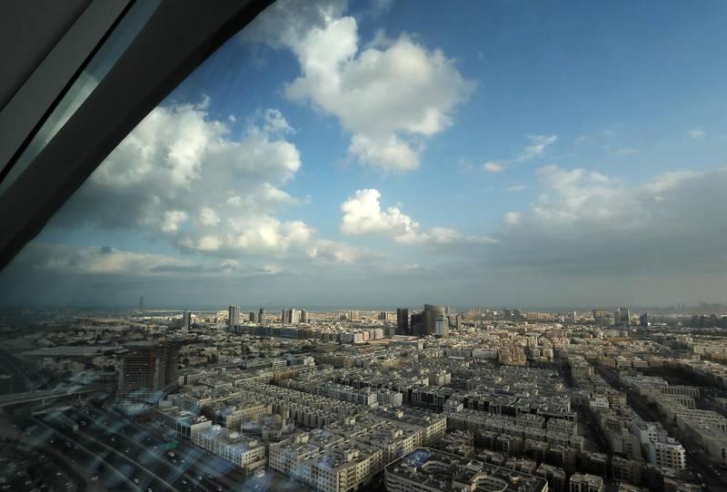 DUBAI , UNITED ARAB EMIRATES , November 24 – 2020 :- Cloudy weather over the Al Karama area in Dubai. ( Pawan Singh / The National ) For News/Standalone/Instagram/Big Picture