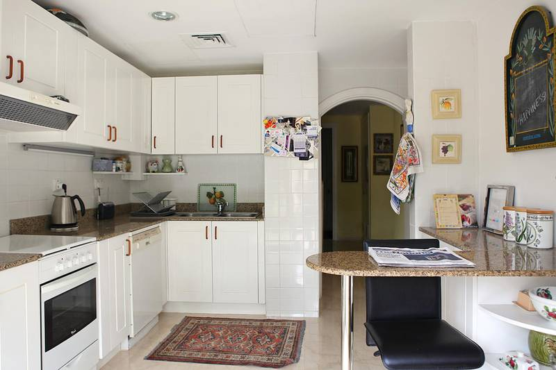 """United Arab Emirates - Dubai - April 13, 2011.  HOUSE & HOME: This is the kitchen of """"The Travel Collection"""" managing director Jacqueline Campbell's (cq-al) 6-year-old villa in the Springs in Dubai on Wednesday, April 13, 2011. Amy Leang/The National"""