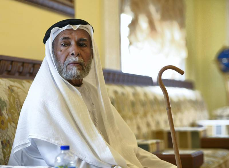 Abu Dhabi, United Arab Emirates - Buti Al Mazrouei, 80, reminiscing about the olden days at his home in Al Ain. Khushnum Bhandari for The National