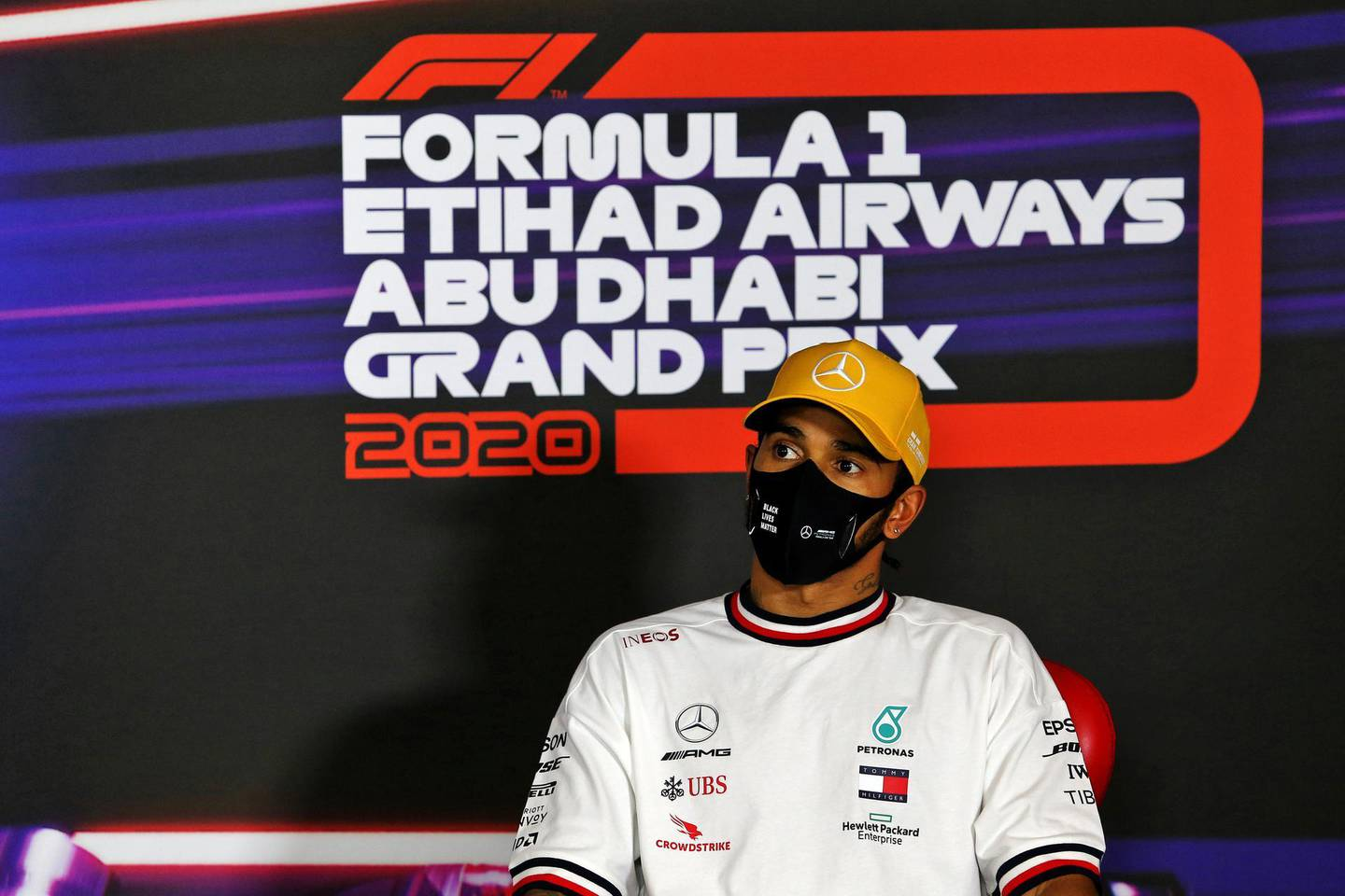 ABU DHABI, UNITED ARAB EMIRATES - DECEMBER 12: Third place qualifier Lewis Hamilton of Great Britain and Mercedes GP talks in a press conference after qualifying ahead of the F1 Grand Prix of Abu Dhabi at Yas Marina Circuit on December 12, 2020 in Abu Dhabi, United Arab Emirates. (Photo by James Moy - Pool/Getty Images)
