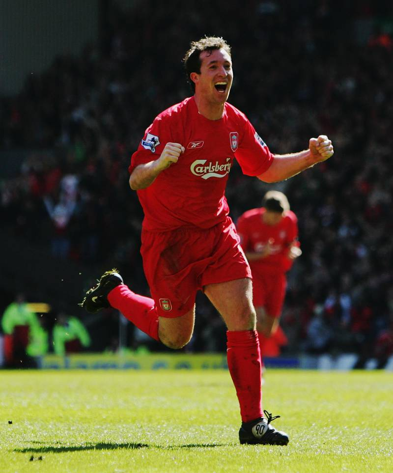 LIVERPOOL, UNITED KINGDOM - APRIL 09:  Robbie Fowler of Liverpool celebrates scoring the opening goal during the Barclays Premiership match between Liverpool and Bolton Wanderers at Anfield on April 9, 2006 in Liverpool, England.  (Photo by Laurence Griffiths/Getty Images)