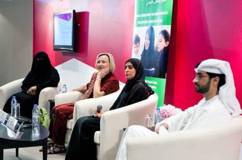 ABU DHABI, UNITED ARAB EMIRATES – March 17, 2011: Maitha Al Khayat, Ute Krause, Dr. Latifa Al Najjar, and Qais Sedki, UAE and German children's book authors, left to right, lead a panel discussion on books in the UAE at the Abu Dhabi International Book Fair at ADNEC.  ( Andrew Henderson / The National )