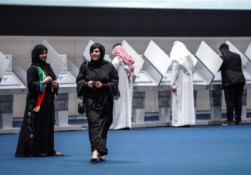 Abu Dhabi, United Arab Emirates, October 5, 2019.  FNC Elections at ADNEC. -- Voters leaving the FNC hall after they cast their votes.Victor Besa / The NationalSection:  NAReporter:  Haneen Dajani