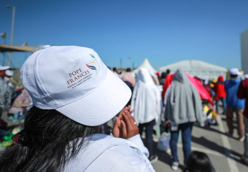 Abu Dhabi, U.A.E., February 5, 2019.  Worhipers strengthen their faith at the mass of His Holiness Pope Francis, Head of the Catholic Church at Zayed Sports City.Victor Besa/The NationalSection:  NAReporter: