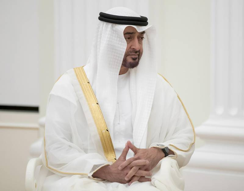 epa06778747 Sheikh Mohammed bin Zayed bin Sultan Al-Nahyan, Abu Dhabi Crown Prince and Deputy Supreme Commander of the UAE Armed Forces, during his meeting with Russian President Vladimir Putin in the Kremlin in Moscow, Russia, 01 June 2018. Russia and the UAE signed a declaration on strategic partnership that envisaged closer economic and financial cooperation.  EPA/PAVEL GOLOVKIN / POOL