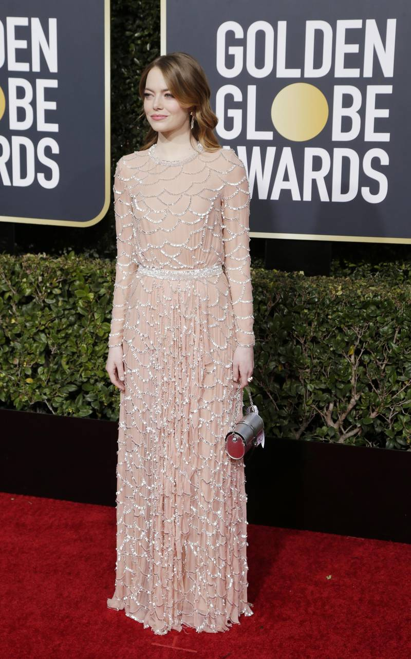 epa07266668 Emma Stone arrives for the 76th annual Golden Globe Awards ceremony at the Beverly Hilton Hotel, in Beverly Hills, California, USA, 06 January 2019.  EPA-EFE/MIKE NELSON