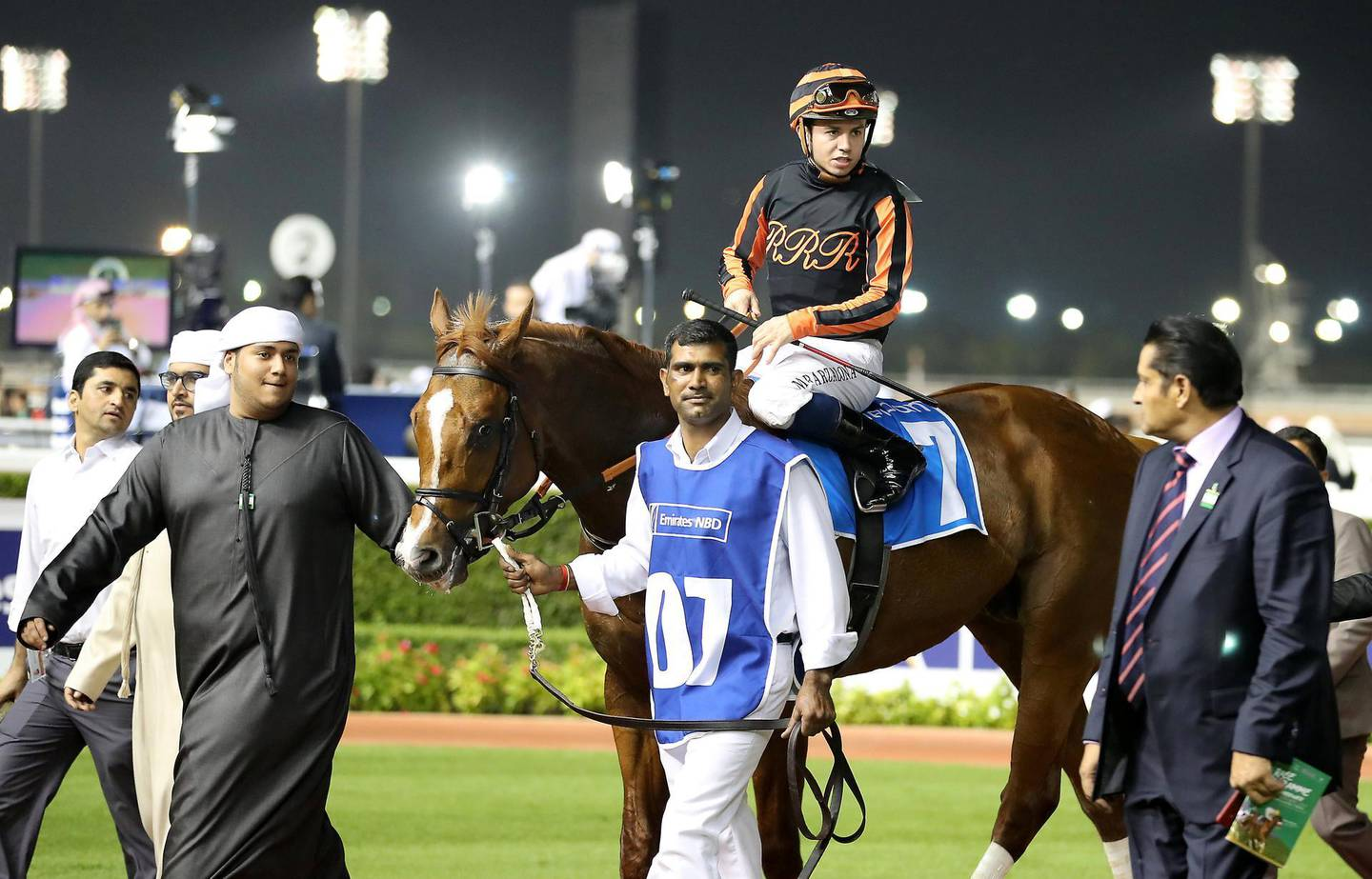 DUBAI , UNITED ARAB EMIRATES , Jan 02  – 2020 :- Mickael Barzalona (no 7) guides Gladiator King (USA)  to win the 5th horse race, 1200m dirt , Dubawi Stakes during the Dubai World Cup Carnival 1st Meeting at the Meydan Racecourse in Dubai. ( Pawan Singh / The National ) For Sports. Story by Amith