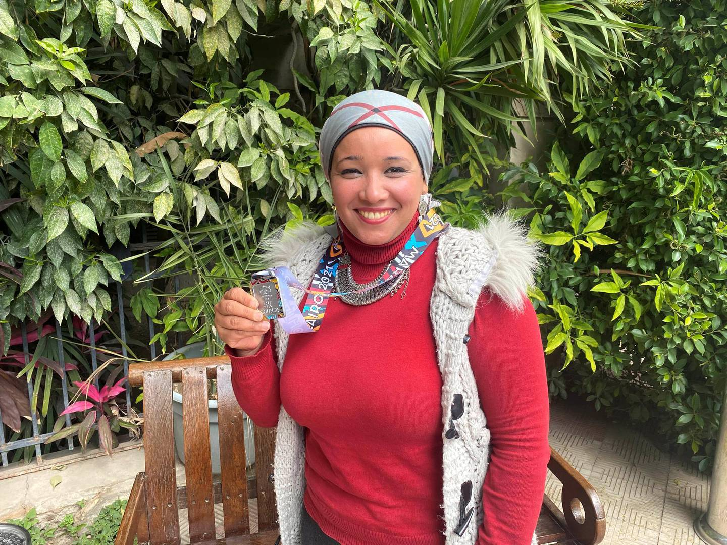 Hamida Azouz, 35, has committed to exercising and eating healthy in the past year. Nada El Sawy / The National