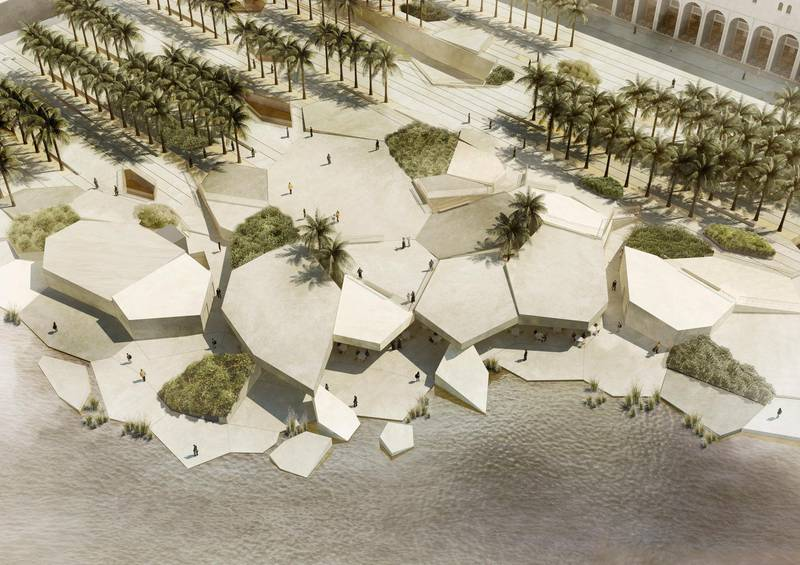 An artist rendering of Qasr Al Hosn fort and surrounding area. ( Provided by the Abu Dhabi Tourism and Culture Authority ) *** Local Caption ***  on07mr-qasr-13.jpg