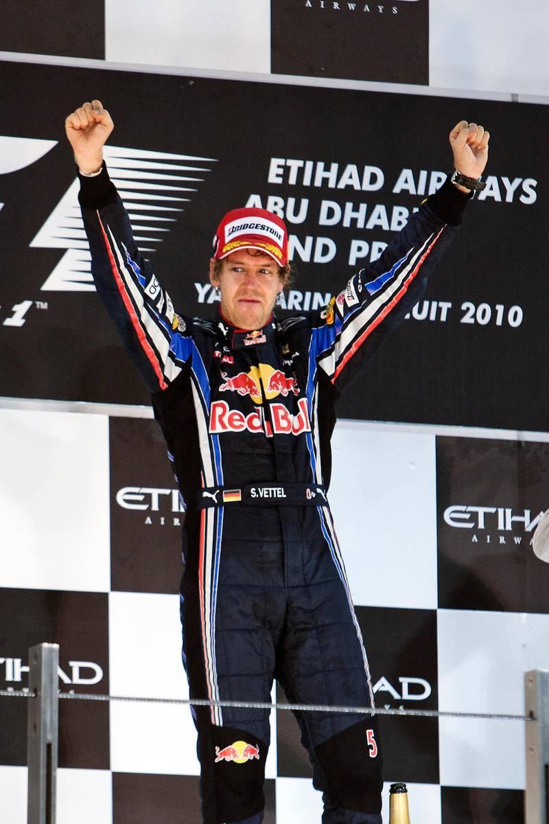 November 13, 2010 - Abu Dhabi, UAE - Sebastian Vettel, of Red Bull Racing, won the Abu Dhabi Grand Prix at Yas Marina Circuit in Abu Dhabi on Sunday November 14, 2010.  (Andrew Henderson / The National)