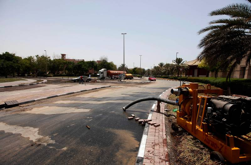 Dubai, United Arab Emirates- July,20, 2013:  View of the  Greens and IBN Battuta Mall area after the Leakage in Water pipes causing  heavy floods in Dubai . ( Satish Kumar / The National ) For News *** Local Caption ***  SK100-Greens-05.jpg