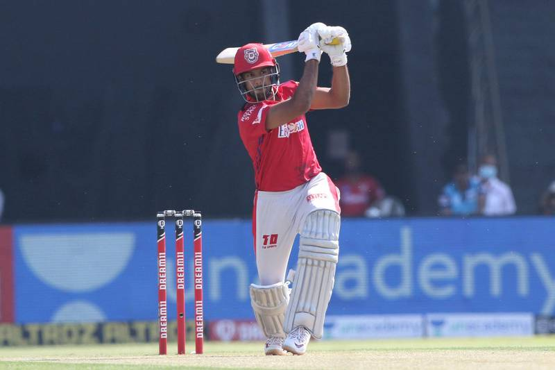 Mayank Agarwal of Kings XI Punjab plays a shot during match 53 of season 13 of the Dream 11 Indian Premier League (IPL) between the Chennai Super Kings and the Kings XI Punjab at the Sheikh Zayed Stadium, Abu Dhabi  in the United Arab Emirates on the 1st November 2020.  Photo by: Pankaj Nangia  / Sportzpics for BCCI
