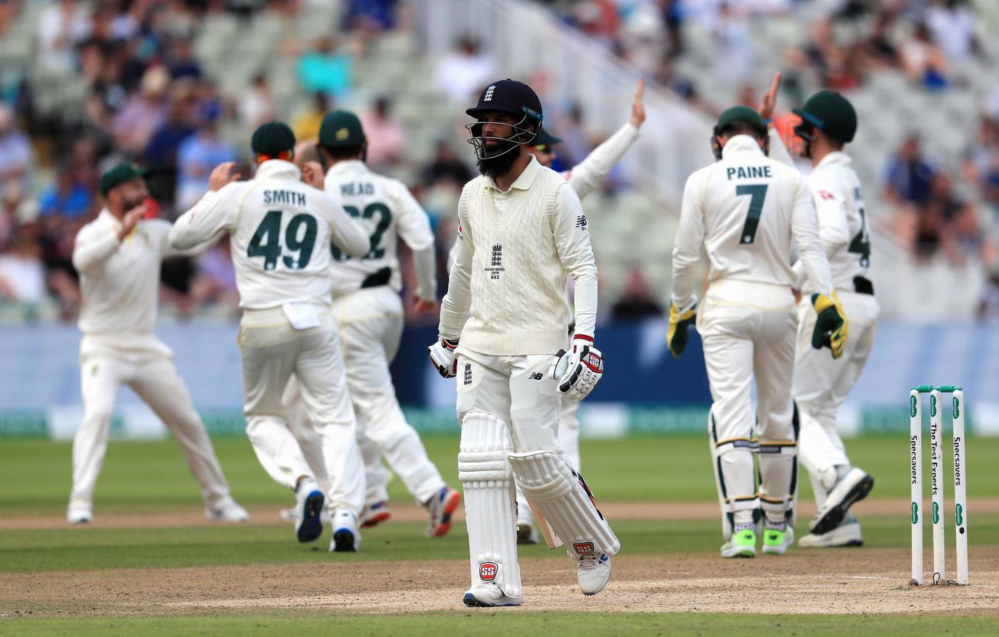 England's Moeen Ali reacts after his dismissal during day five of the Ashes Test match at Edgbaston, Birmingham. PRESS ASSOCIATION Photo. Picture date: Monday August 5, 2019. See PA story CRICKET England. Photo credit should read: Mike Egerton/PA Wire. RESTRICTIONS: Editorial use only. No commercial use without prior written consent of the ECB. Still image use only. No moving images to emulate broadcast. No removing or obscuring of sponsor logos