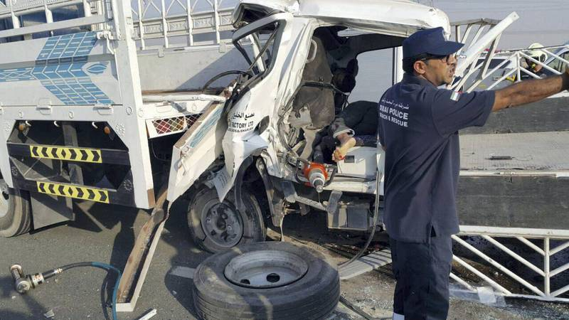Four were killed and three seriously injured when a pickup truck and a lorry collided on Emirates Road on Thursday afternoon. Courtesy Dubai Traffic Police