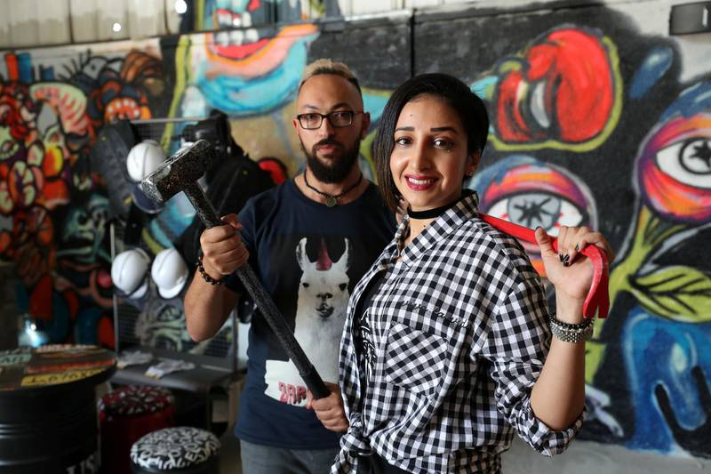 Dubai, United Arab Emirates - March 16th, 2018: Owners Ibriham Abudyak and Hiba Balfaqih. The Smash Room opens in Dubai. Friday, March 16th, 2018. Al Quoz, Dubai. Chris Whiteoak / The National