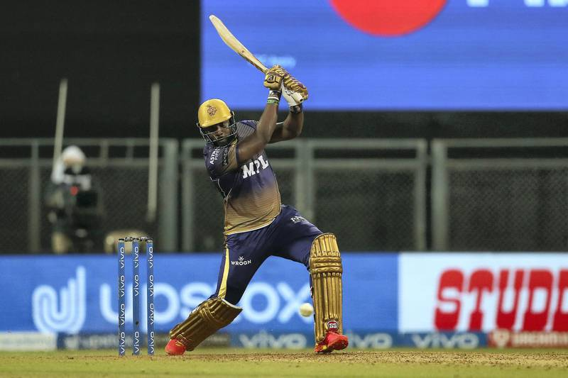 Andre Russell of Kolkata Knight Riders  during match 18 of the Vivo Indian Premier League 2021 between the Rajasthan Royals and the Kolkata Knight Riders held at the Wankhede Stadium Mumbai on the 24th April 2021.  Photo by Ron Gaunt / Sportzpics for IPL