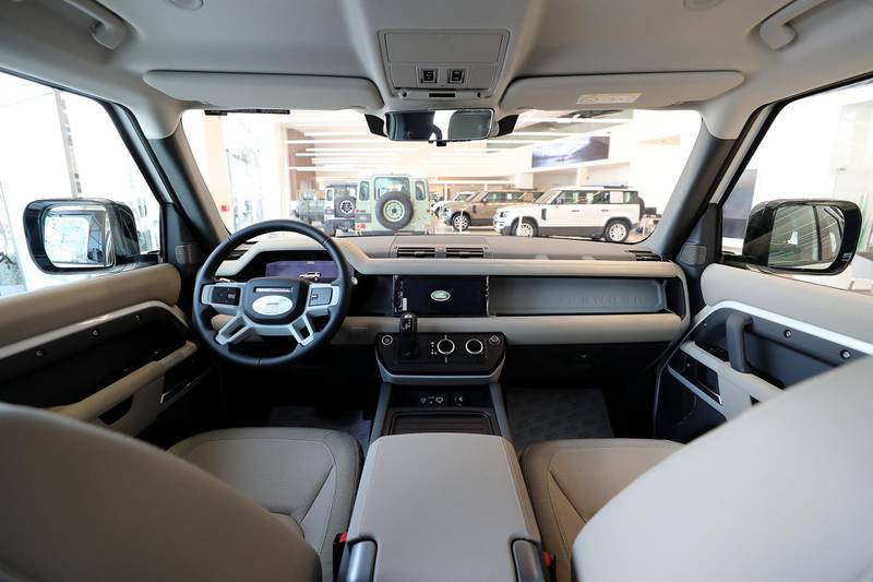 DUBAI, UNITED ARAB EMIRATES , June 27 – 2020 :- Interiors of the Land Rover Defender SE model on display at the Land Rover Defenders showroom on Sheikh Zayed Road in Dubai. (Pawan Singh / The National) For Motoring. Story by Simon