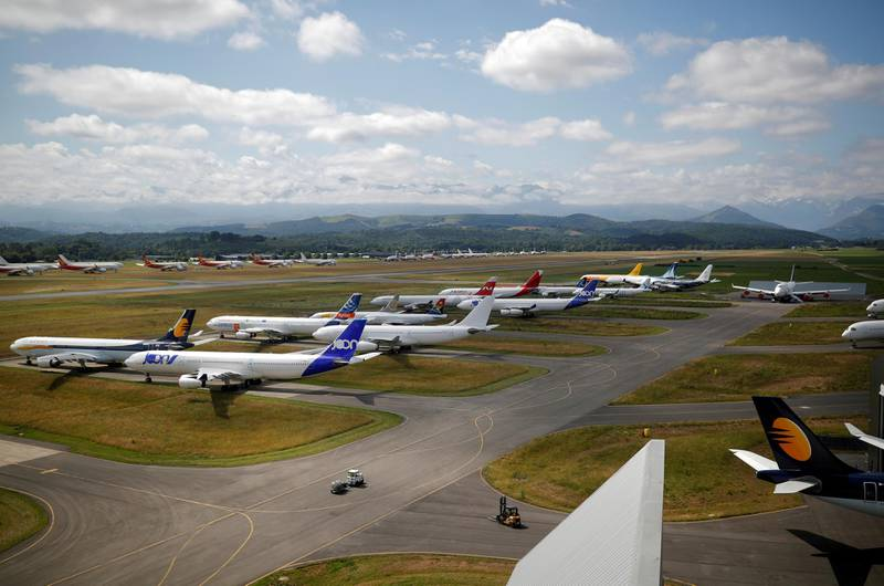 FILE PHOTO: Airplanes sit on the tarmac at the site of French aircraft storage and recycling company Tarmac Aerosave in Tarbes following the coronavirus disease (COVID-19) outbreak in France, June 19, 2020. Picture taken June 19, 2020. REUTERS/Stephane Mahe/File Photo