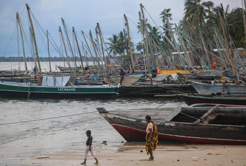 The fishing port of Paquitequete near Pemba on March 29, 2021. Sailing boats are expected to arrive with people displaced from the coasts of Palma and Afungi after suffering attacks by armed groups since last March 24. Dozens of people were killed in coordinated jihadist attacks in northern Mozambique's Palma town, the government said on Sunday, four days after the raid was launched and forced the evacuation of thousands of survivors to safety in the provincial capital Pemba. / AFP / Alfredo Zuniga