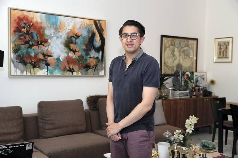 DUBAI, UNITED ARAB EMIRATES , June 29 – 2020 :- Lloyd Rosales-Cocks purchased property abroad during the pandemic at his home in Jumeirah Village Circle in Dubai. (Pawan Singh / The National) For News. Story by Deepthi Nair