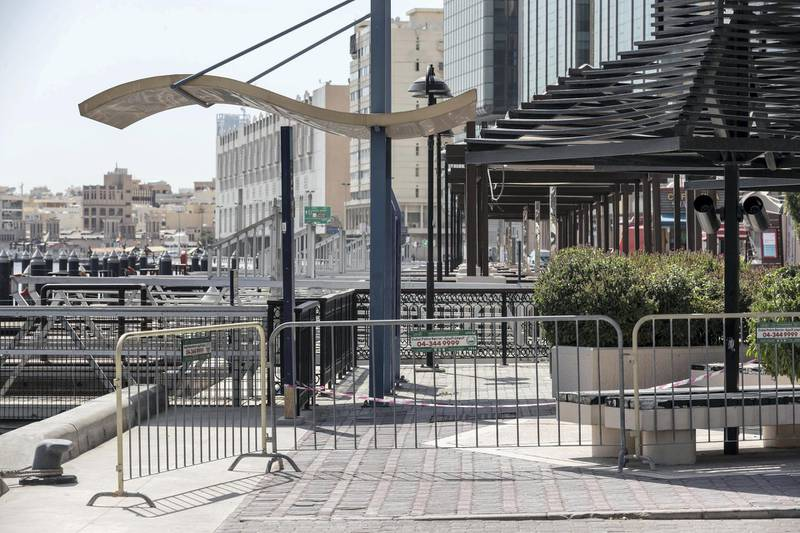 DUBAI, UNITED ARAB EMIRATES. 26 APRIL 2020. The barrier along the Baniyas road entrance to the quarentined Al Ras area in Deira. (Photo: Antonie Robertson/The National) Journalist: Ramola Talwar. Section: National.