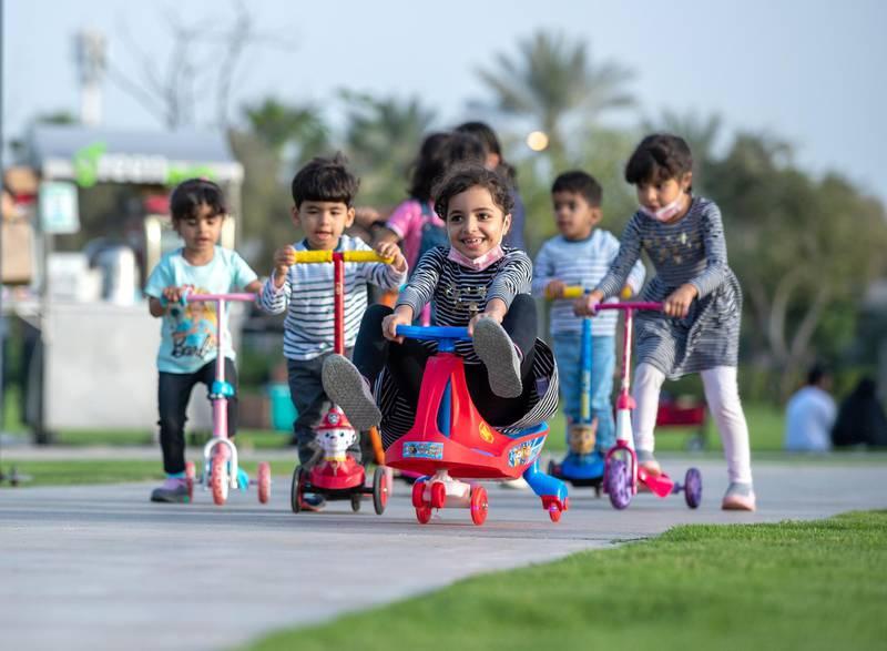 Abu Dhabi, United Arab Emirates, March 15, 2021.  Emirati Children's Day at Umm Al Emarat Park.  The Al Yaqoubi sistersand Al Dhaheri cousins.Victor Besa/The NationalSection:  NAFOR:  Stand Alone/ Big Picture