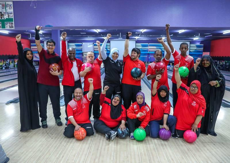 Al Ain, UAE, March 8, 2018.  UAE Special Olympics team training sessions.  UAE Mem's Bowling Team.Victor Besa / The NationalNationalReporter; Ramola Talwar