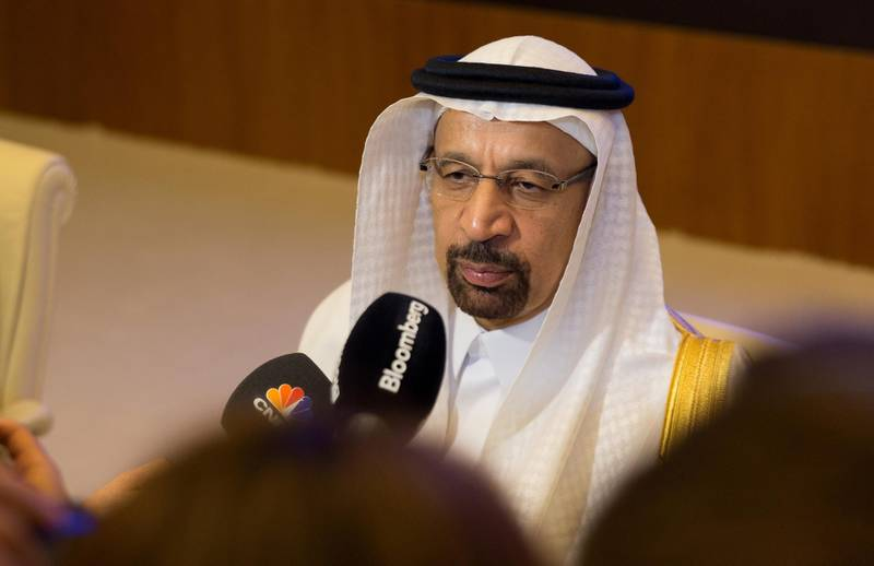 Khalid al-Falih, Saudi Arabia's energy minister, speaks to the media at the Joint Ministerial Monitoring Committee (JMMC) of OPEC in Jeddah, Saudi Arabia, on Friday, April 20, 2018. The oil stockpile surplus that's weighed on prices for three years is all but gone, but instead of celebrating victory OPEC and Russia are finding reasons to continue production cuts. Photographer: Abdulrahman Abdullah/Bloomberg