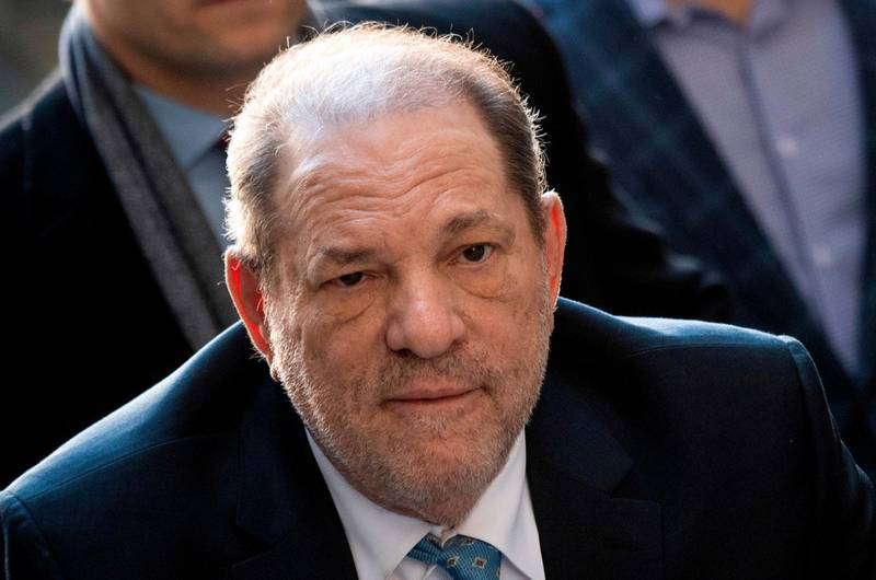 """(FILES) In this file photo taken on February 24, 2020 Harvey Weinstein arrives at the Manhattan Criminal Court, in New York City. Harvey Weinstein's sex crimes conviction was a """"great victory"""" for women, US President Donald Trump said February 25, 2020 -- without acknowledging the numerous accusations of sexual misconduct he has faced. The disgraced Hollywood movie producer was found guilty on Monday of rape and sexual assault in a verdict hailed as a historic landmark by the #MeToo movement against sexual misconduct.""""From the standpoint of women, I think it was a great thing,"""" Trump said at a news conference in India.   / AFP / Johannes EISELE"""