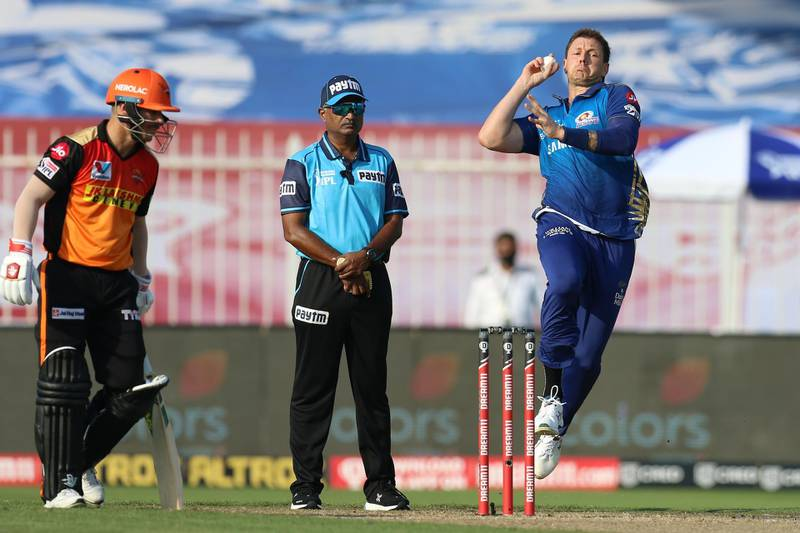 James Pattinson of Mumbai Indians bowls during match 17 of season 13 of the Dream 11 Indian Premier League (IPL) between the Mumbai Indians and the Sunrisers Hyderabad held at the Sharjah Cricket Stadium, Sharjah in the United Arab Emirates on the 4th October 2020. Photo by: Deepak Malik  / Sportzpics for BCCI