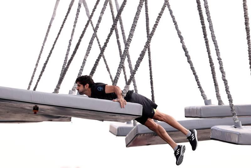 Dubai, United Arab Emirates - March 04, 2019: Sheikh Hamdan bin Mohammed takes part in the men's heats of the Goverment Games 2019. Thursday the 4th of April 2019. Kite Beach, Dubai. Chris Whiteoak / The National