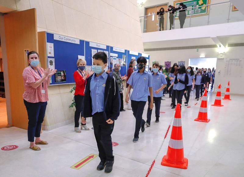 Abu Dhabi, United Arab Emirates, February 16, 2021.  Teachers of the British School Al Khubairat welcome the level 7 students back to school.Victor Besa/The NationalReporter:  Haneen DajaniSection:  NA