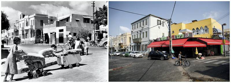 """A combination picture shows Palestinian refugee girls pushing their belongings in prams and carts as they flee Jaffa in the wake of the first Arab-Israeli war in this handout picture believed to be taken in 1948. UNRWA/Handout via REUTERS (L) and a boy riding a bicycle on a street in Jaffa, near Tel Aviv, Israel, September 19, 2019. REUTERS/Corinna Kern ATTENTION EDITORS - THIS IMAGE WAS PROVIDED BY A THIRD PARTY. NO RESALES. NO ARCHIVES  SEARCH """"UNRWA COMBOS"""" FOR THIS STORY. SEARCH """"WIDER IMAGE"""" FOR ALL STORIES."""