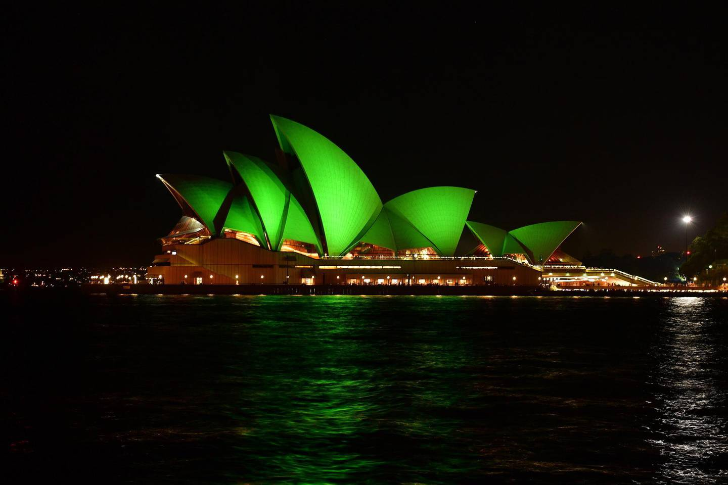 REPRO FREE17/03/2021, Sydney, Australia – Tourism Ireland's annual Global Greening initiative to mark St Patrick's Day sees hundreds of iconic landmarks and sites around the world light up in green on 17 March – keeping the island of Ireland to the fore in a positive light, on the day when people everywhere are thinking about Ireland.PIC SHOWS: The Sydney Opera House in Sydney, Australia, joins Tourism Ireland's Global Greening initiative to mark St Patrick's Day. Pic – Fiora Sacco (no repro fee)Further press info – Niamh Doherty, Tourism Ireland 085-856 6429