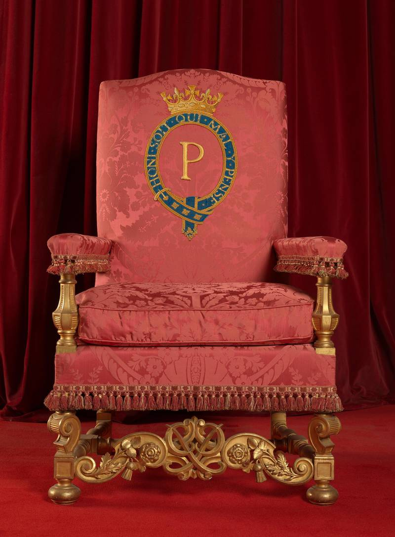 The Chair of Estate made for Prince Philip after the Coronation to accompany The Queen's Chair of Estate in the Throne Room at Buckingham Palace. Courtesy Royal Collection Trust
