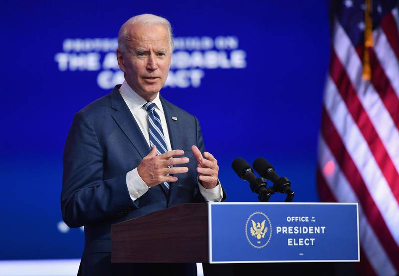 """US President-elect Joe Biden delivers remarks at The Queen in Wilmington, Delaware, on November 10, 2020. President-elect Joe Biden said November 10, 2020 he had told several world leaders that """"America is back"""" after his defeat of Donald Trump in last week's bitterly contested US election. / AFP / Angela Weiss"""