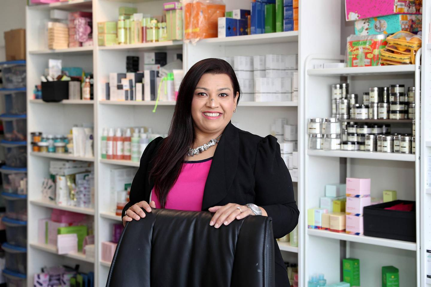 DUBAI, UNITED ARAB EMIRATES , November 16 – 2020 :- Neelam Keswani, founder and MD of online beauty shop glamazle.com at her office in the International Business Tower in Business Bay area in Dubai. (Pawan Singh / The National) For Business. Story by David