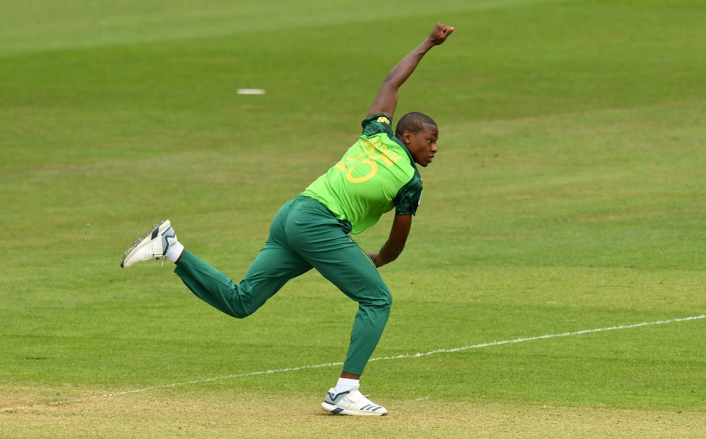 CARDIFF, WALES - MAY 24:  Kagiso Rabada of South Africa bowls during the ICC Cricket World Cup 2019 Warm Up match between Sri Lanka and South Africa at Cardiff Wales Stadium on May 24, 2019 in Cardiff, Wales. (Photo by Dan Mullan/Getty Images)