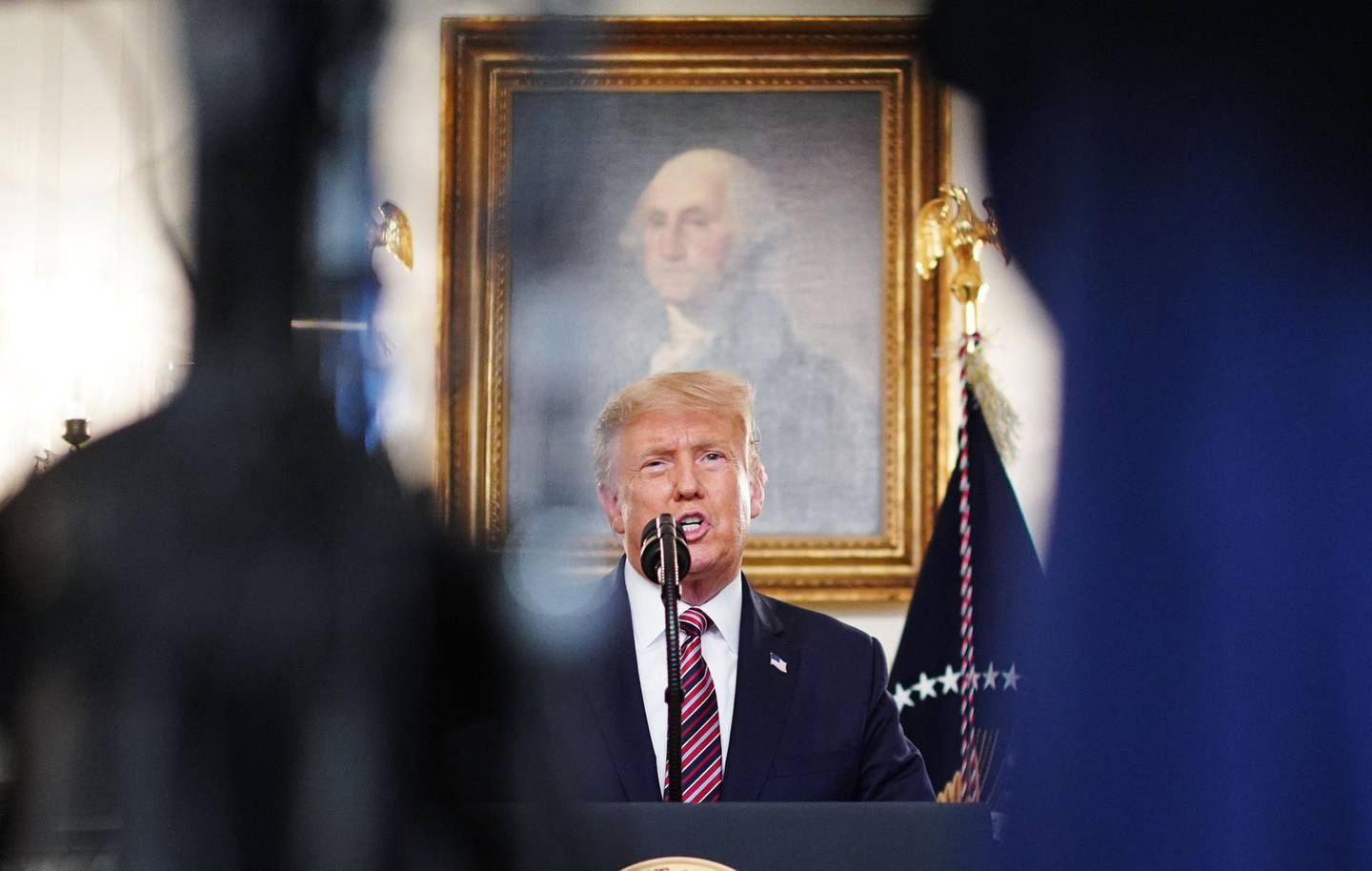 US President Donald Trump speaks on judicial appointments in the Diplomatic Reception Room of the White House in Washington, DC on September 9, 2020. / AFP / MANDEL NGAN