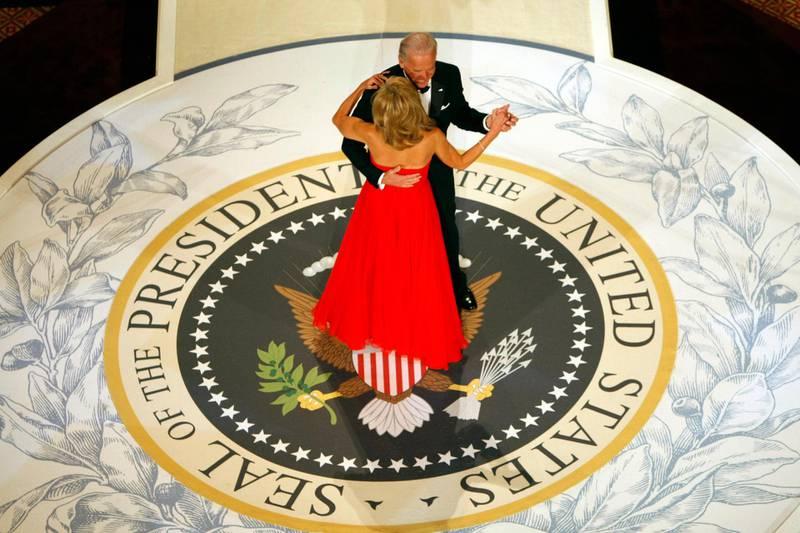 Vice President Joe Biden dances with his wife Jill at the Commander In Chief Ball on inauguration night in Washington, Tuesday, Jan. 20, 2009. (AP Photo/Gerald Herbert)