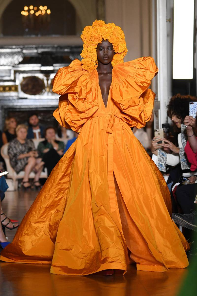PARIS, FRANCE - JULY 04:  A model walks the runway during the Valentino Haute Couture Fall Winter 2018/2019  show as part of Paris Fashion Week on July 4, 2018 in Paris, France.  (Photo by Pascal Le Segretain/Getty Images)