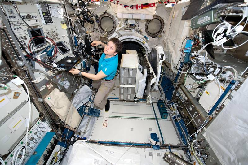 RRXFCD NASA astronaut Anne McClain works inside the Japanese Kibo laboratory aboard the International Space Station January 30, 2019 in Earth Orbit.