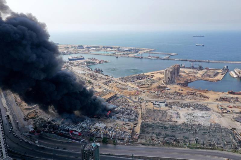 BEIRUT, LEBANON - SEPTEMBER 10: An aerial view of the black smoke following a fire that erupted in Beirut Ports Free Zone on September 10, 2020 in Beirut, Lebanon. The fire broke out in a structure in the city's heavily damaged port facility, the site of last month's explosion that killed more than 190 people. (Photo by Haytham Al Achkar/Getty Images)