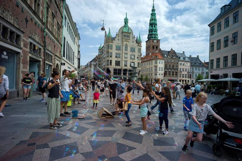 trøget street is a pedestrian zone located in Copenhagen ,, This popular tourist attraction in the city center is the largest pedestrian shopping area in Europe. Copenhagen August 18, 2019 Denmark. (Photo by Oscar Gonzalez/NurPhoto via Getty Images)