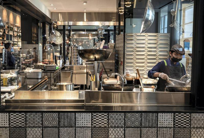 Abu Dhabi, United Arab Emirates, February 18, 2021. First-look pictures of the new Hilton Abu Dhabi Yas Island.  Graphos Social Kitchen.Victor Besa/The National Section:  LFReporter:  Hayley Skirka