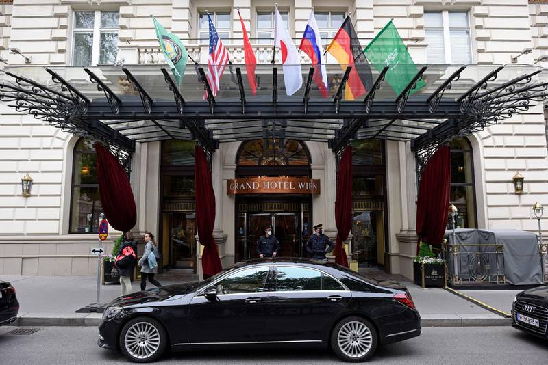 VIENNA, AUSTRIA - MAY 25: A general view of the Grand Hotel on the day the JCPOA Iran nuclear talks are to resume on May 25, 2021 in Vienna, Austria. Representatives from the United States, Iran, the European Union and other participants from the original Joint Comprehensive Plan of Action (JCPOA) are reportedly getting closer to agreeing on a deal to revive the plan. The JCPOA was the European-led initiative by which Iran agreed not to pursue a nuclear weapon in exchange for concessions, though the United States, under the administration of former U.S. President Donald Trump, abandoned the deal and intensified sanctions against Iran. (Photo by Thomas Kronsteiner/Getty Images)